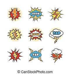 Cartoon lightning, comic thunderclouds icons vector set