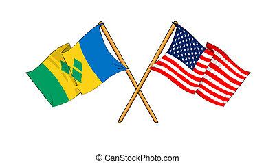 cartoon-like drawings of flags showing friendship between...