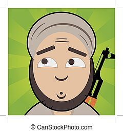 cartoon like terrorist with innocent, confused face and...