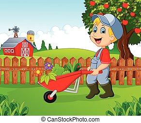 cartoon, lille dreng, holde, wheelbar