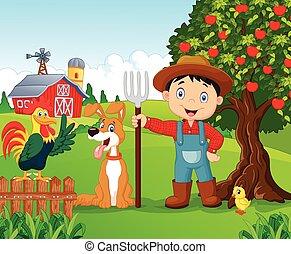 cartoon, lille dreng, og, hund, ind, den, francs