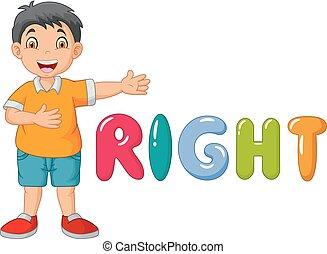 cartoon, lille dreng, pege, hans, ret, hos, den, ret, glose