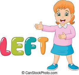cartoon, lille pige, pege, hans, venstre, hos, den, venstre, glose