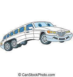 cartoon limousine car