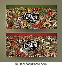 Cartoon line art vector doodles casino banners