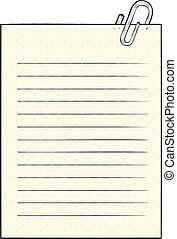 cartoon lined paper with paperclip