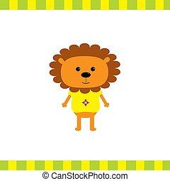 Cartoon lion boy card Flat design