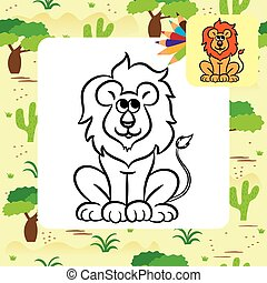Cartoon lion. Coloring page