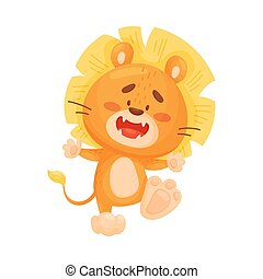 Cartoon lion cub dancing. Vector illustration on a white background.