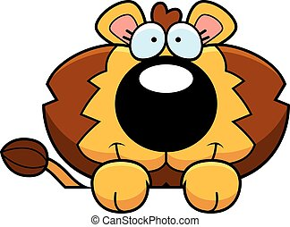 Cartoon Lion Cub Peeking - A cartoon illustration of a lion...