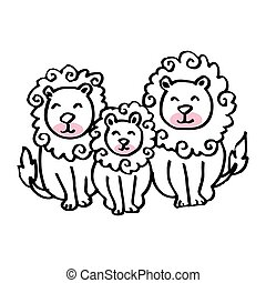 Cartoon lion family on white background.