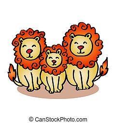 Cartoon lion family on white background.