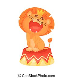 Cartoon lion growls. Vector illustration on a white background.