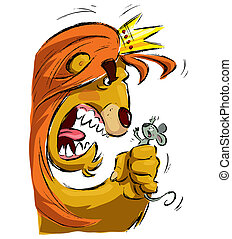 Cartoon lion holding a mouse frightening it - Cartoon king...