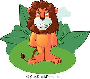 Cartoon lion mascot on isolated background