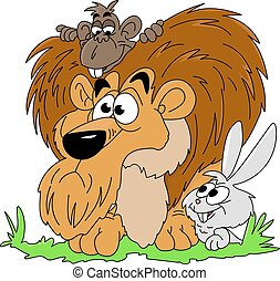 Cartoon lion, monkey and rabbit watching around in the forest vector illustration