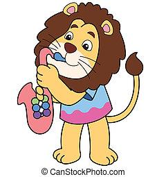 Cartoon Lion Playing a Saxophone - Cartoon lion playing a...