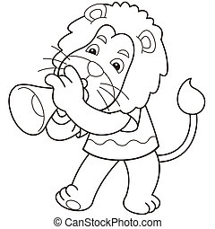 Cartoon Lion Playing a Trumpet - Cartoon lion playing a...