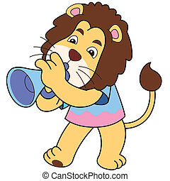 Cartoon Lion Playing a Trumpet - Cartoon lion playing a...