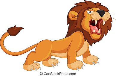 Cartoon Roaring Lion Clip Art Vector
