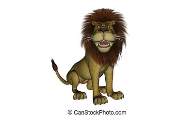 5 seconds long clip of a cartoon lion that is roaring while sitting down. Isolated on white.