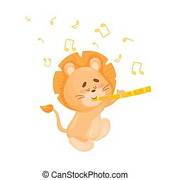 Cartoon lion with flute. Vector illustration on a white background.