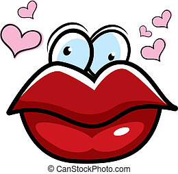 Big cartoon red lips surrounded by hearts.