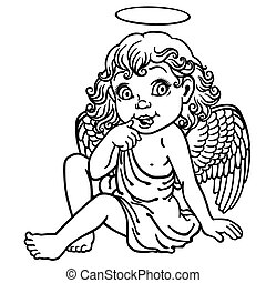 cartoon little angel outline