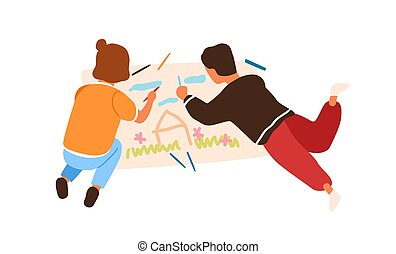 Cartoon little boy and girl painting picture on paper lying on floor vector flat illustration. Creative children enjoying drawing using multicolored pencil isolated on white background