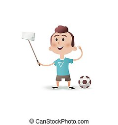 Cartoon little boy character makes selfie. Portrait of a child making selfie photo on smartphone isolated on a white background. The kid takes pictures of himself on the phone on flat style