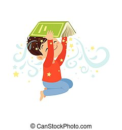 Cartoon little boy holding open magic book over his head. Cute kid character in flat style. Children imagination and dreams. Vector illustration