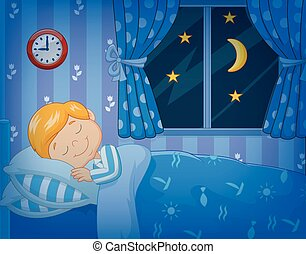 Cartoon little boy sleeping - Vector illustration of Cartoon...