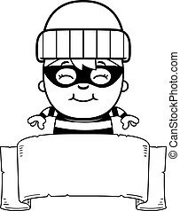Cartoon Little Burglar Banner - A cartoon illustration of a...