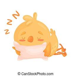 Cartoon little chicken is sleeping. Vector illustration on white background.