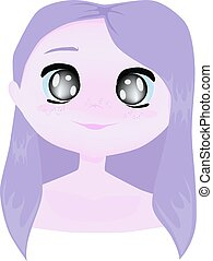 Cartoon little cute girl with lavender color hair and skin, ...