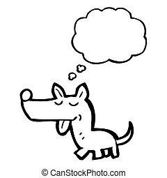 cartoon little dog with thought bubble