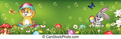 Cartoon little Easter rabbit with nature background