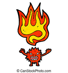 cartoon little fire imp