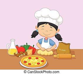 Cartoon little girl baking - Vector illustration of Cartoon...