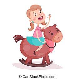 Cartoon little girl in skirt riding rocking horse - Cartoon...