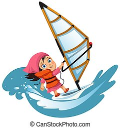 Cartoon little girl sailing in ocean wearing lifejacket