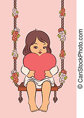 girl with heart on the swings