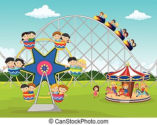 Cartoon little kid in the carnival - Vector illustration of...