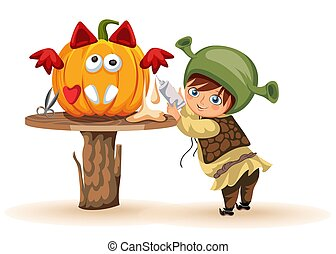 Cartoon little kid preparing for All Hallows Eve poster. Cheerful child dressed in costume of shrek making Halloween pumpkin vector illustration. Horror party concept