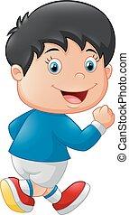 Cartoon little kid running