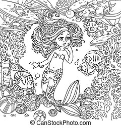 Cartoon little mermaid girl amazement communicates with the fish on underwater world frame with corals, fish and anemones background outlined