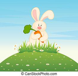 cartoon little toy bunny with carro