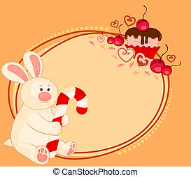 bunny with sweet cupcake