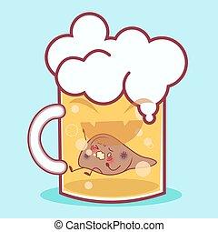 cartoon liver in the beer