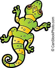 Cartoon Lizard - A cartoon green and yellow striped lizard.